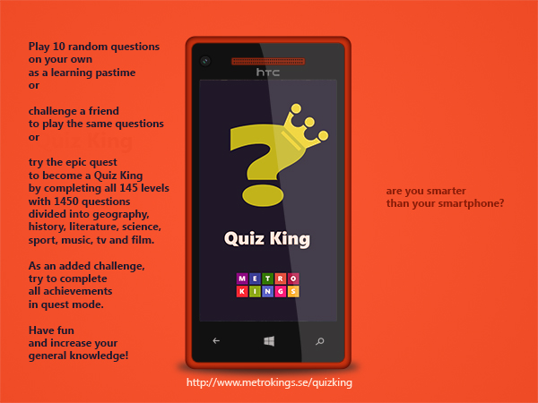 Htcquizking I just released a Windows Phone game called Quiz King