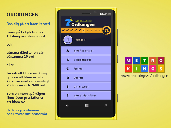 ordkungen Two Windows Phone vocabulary quiz games released: Word King and Ordkungen