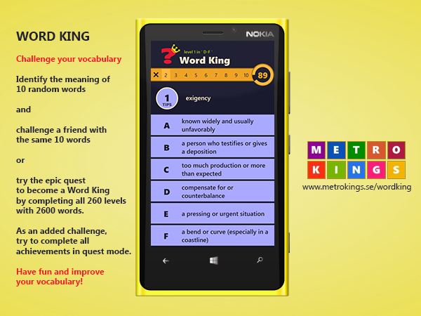 wordking Two Windows Phone vocabulary quiz games released: Word King and Ordkungen