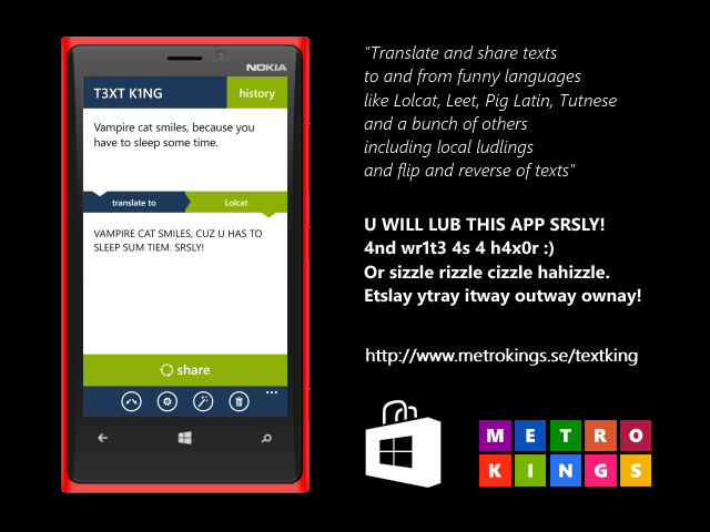 "ad I just released a Windows Phone app called ""T3XT K1NG"""