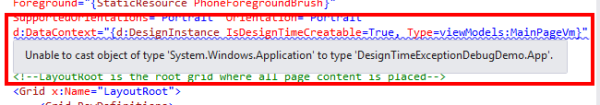 designtimeexceptiondebugging1 Visual Studio 2013 and Blend design time exception debugging