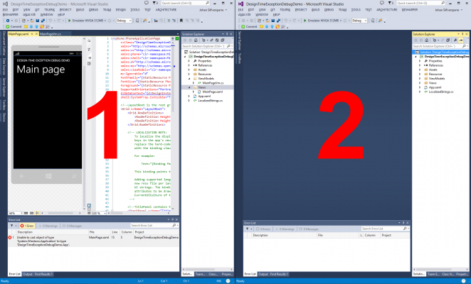 designtimeexceptiondebugging2 662x400 Visual Studio 2013 and Blend design time exception debugging