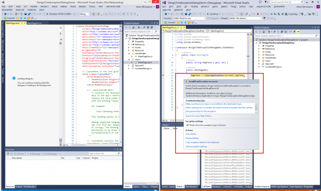 designtimeexceptiondebugging7 662x395 Visual Studio 2013 and Blend design time exception debugging