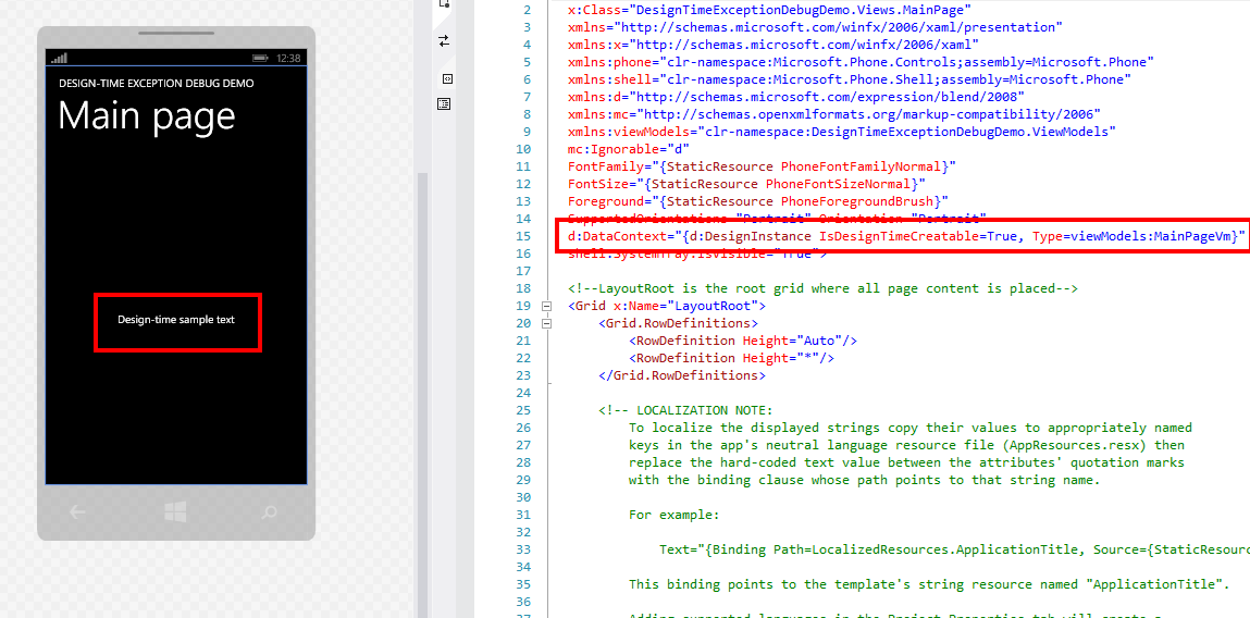 Visual Studio 2013 and Blend design-time exception debugging